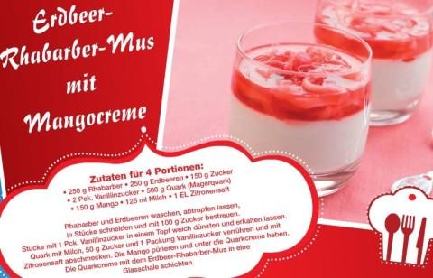 Erdbeer-Rhabarber-Mus mit Mangocreme
